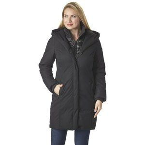 Kenneth Cole Brushed Twill Hooded 3/4-Length Coat